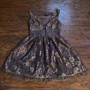 ASOS Elise Ryan grey lace skater dress